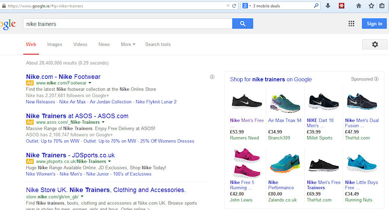 google-ireland-shopping-listings
